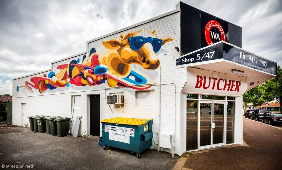 Photo of the WA Exclusive Meats shopfront and art mural by local artist @liamdeeart